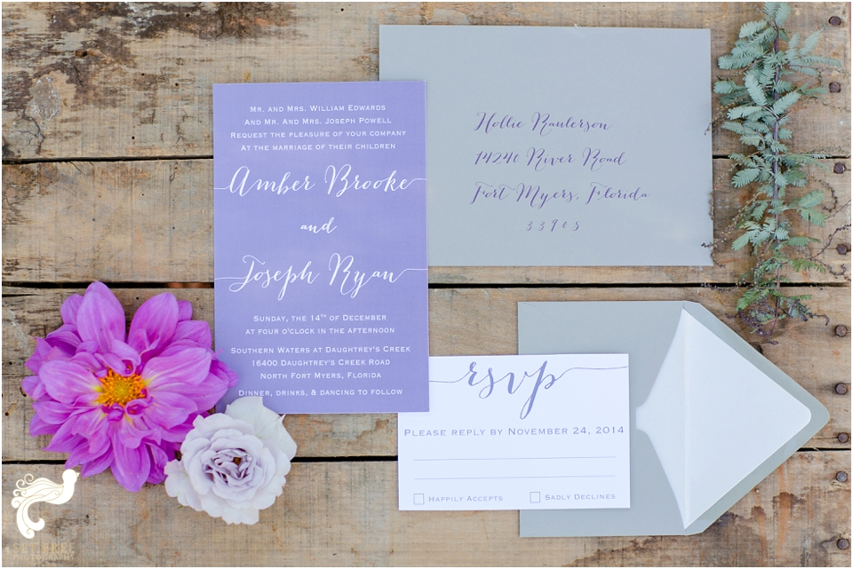 wedding invitation purple calligraphy set free photography florida wedding southern waters